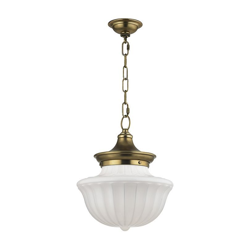 3 Lights Round Single Tier Chandelier with Opal White Schoolhouse Glass