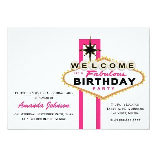 Las Vegas Sign Birthday Party Invitation
