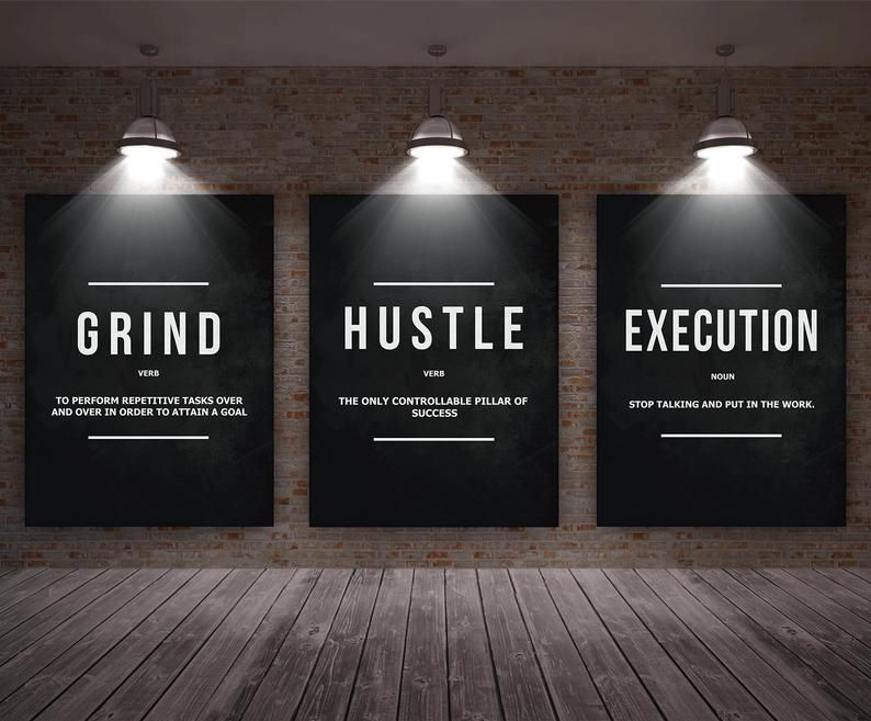 3 Pieces Grind Hustle Execution Wall Art Canvas Prints Officedecorprofessional Office Wall Design Corporate Office Decor Office Decor Professional