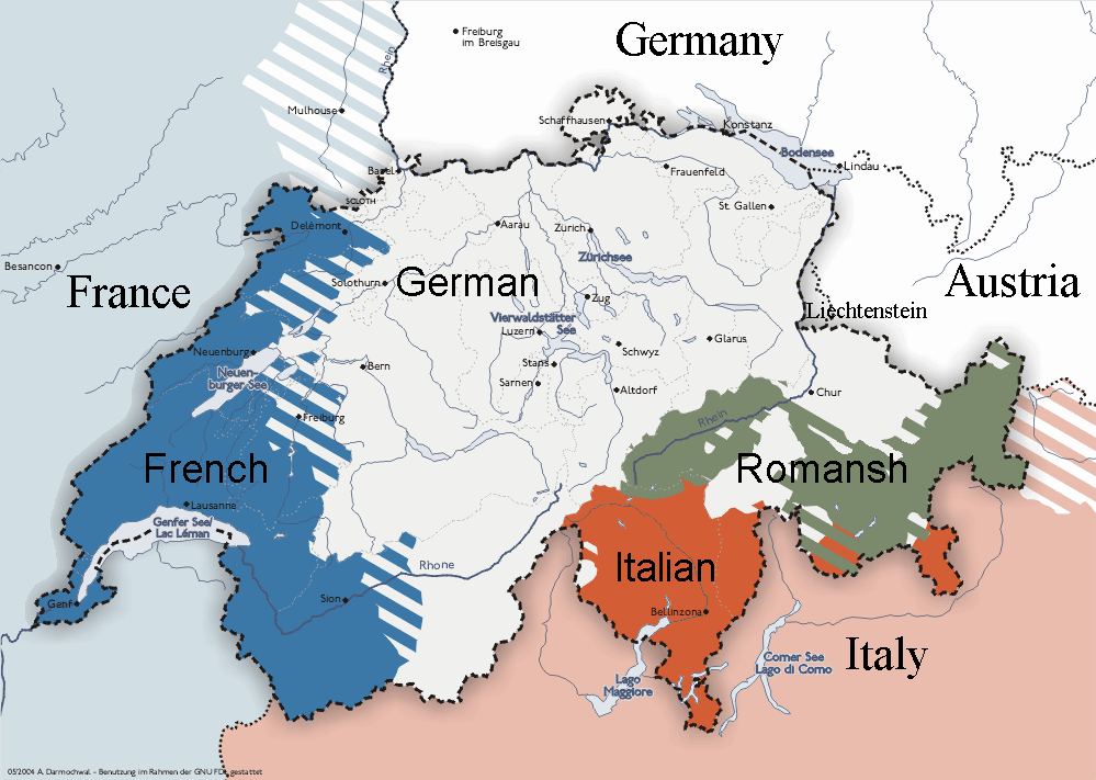 Linguistic map of Switzerland travel Pinterest Switzerland