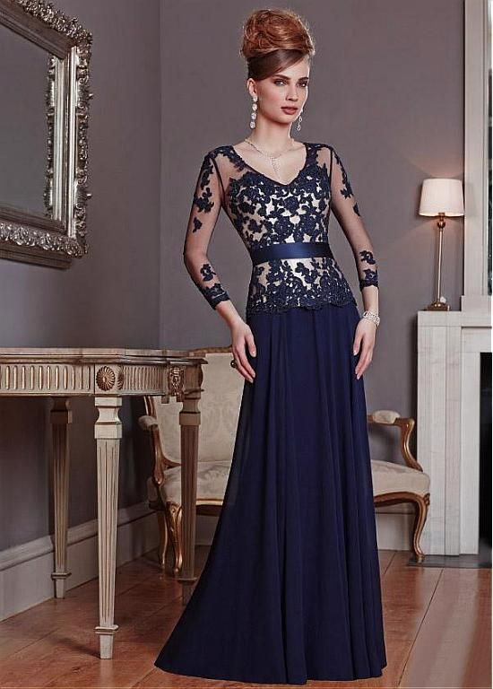 Glamorous Tulle & Chiffon Sheath V-neck Neckline Full-length Mother of the Bride Dress