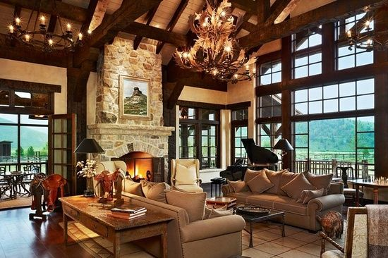 Grand Fireplace W Vaulted Ceilings Beams Open Floor: Home Design / Living Room W/baby