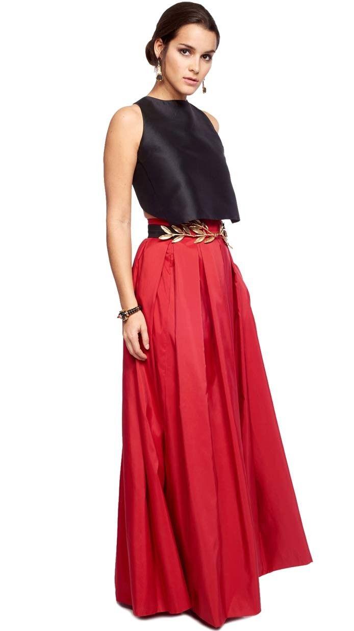 bdd242589 falda larga roja para invitada de fiesta de tarde-noche