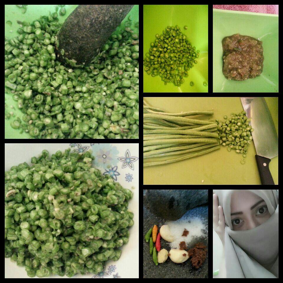 Pencok Kacang Panjang Makanan Khas Sunda Bahan Kacang Panjang Kencur Bawang Putih Cabe Rawit Terasi Garam Gula Rawit