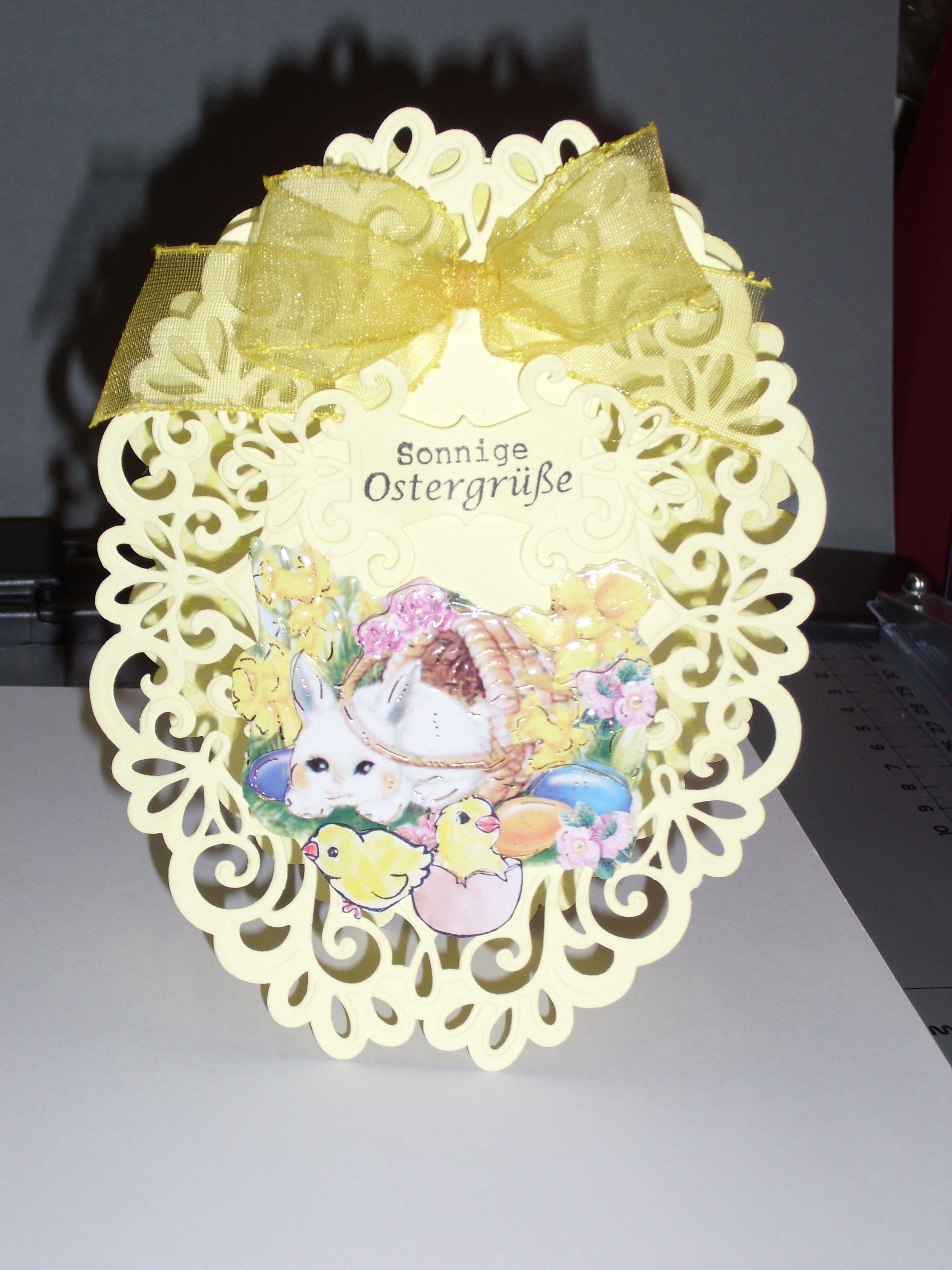 Osterkarte Spellbinders Heirloom Oval gelb