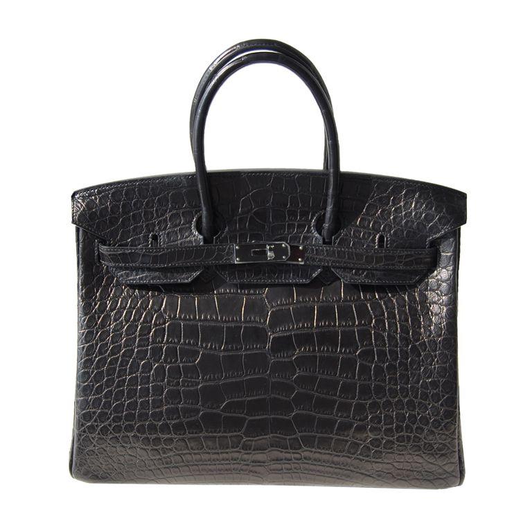 Hermès - Black alligator Birkin 35 Handbag.