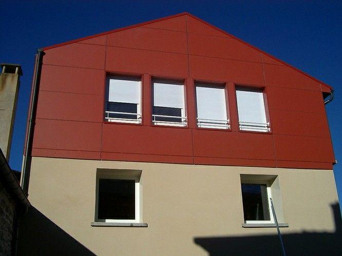 Bardage en eternit glasal fa ade bois fibro ciment ou m tallique pinterest fa ade bois - Bardage metallique facade ...