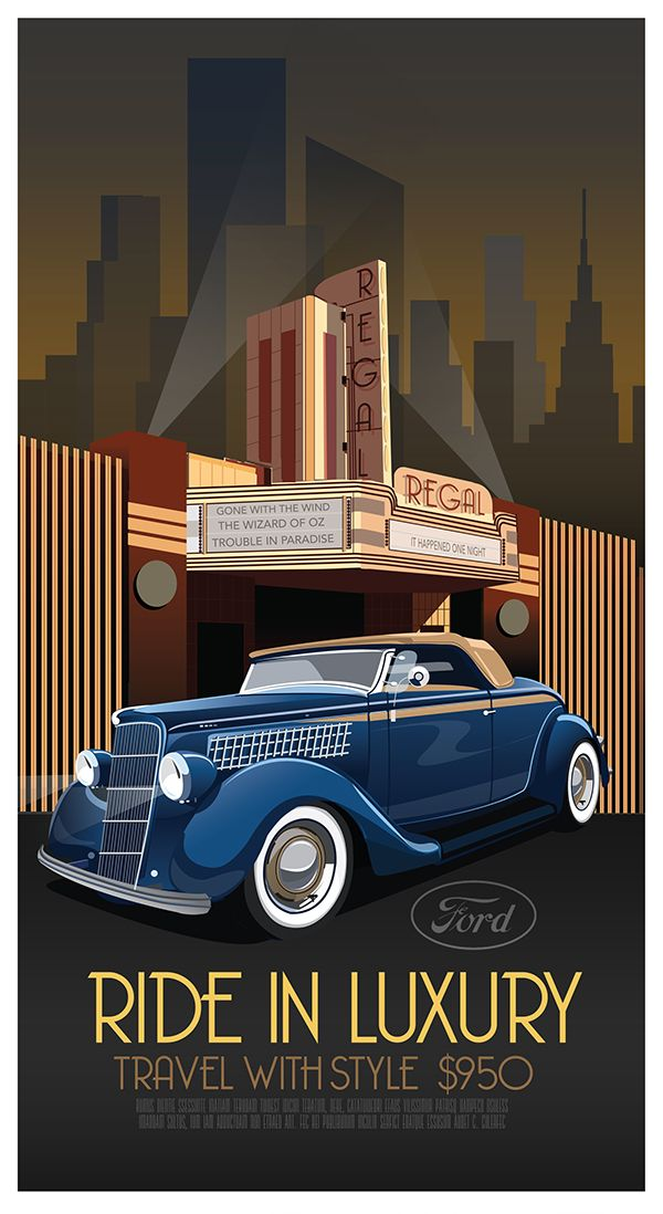 art deco car poster poster or art pinterest art d co affiches et art. Black Bedroom Furniture Sets. Home Design Ideas