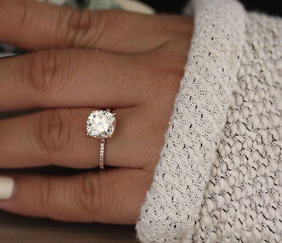 Cushion 9mm Rose Gold Moissanite Engagement Ring, Diamond Half Eternity Band, 14k Rose Gold Moissanite Ring, Forever Classic Moissanite Ring