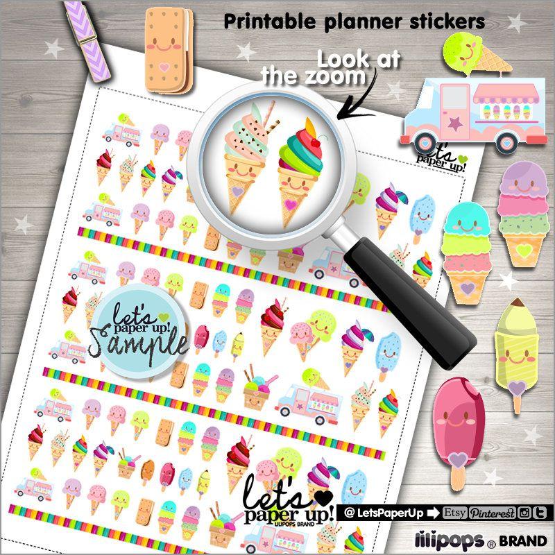 Ice Cream, Printable Planner Stickers, Food Sticker, Kawaii Sticker, Erin Condren, Functional Stickers, Planner Accessories, Dessert, Sweet