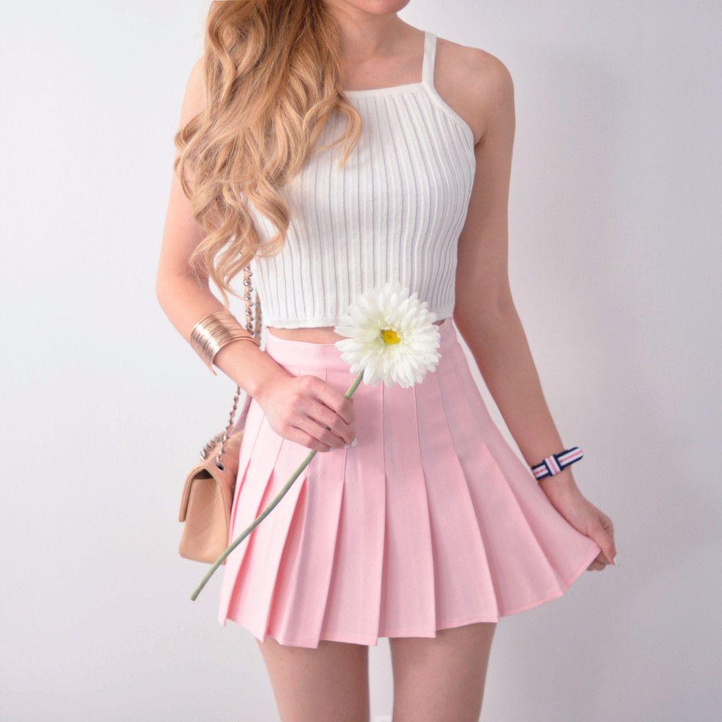 Pleated Tennis Skirt - Pastel Pink | Tennis skirts, Pastel pink ...