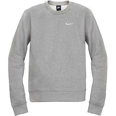 Nike Club Crew Swoosh Sweatshirt Mens 611467-063 Grey Fleece ...
