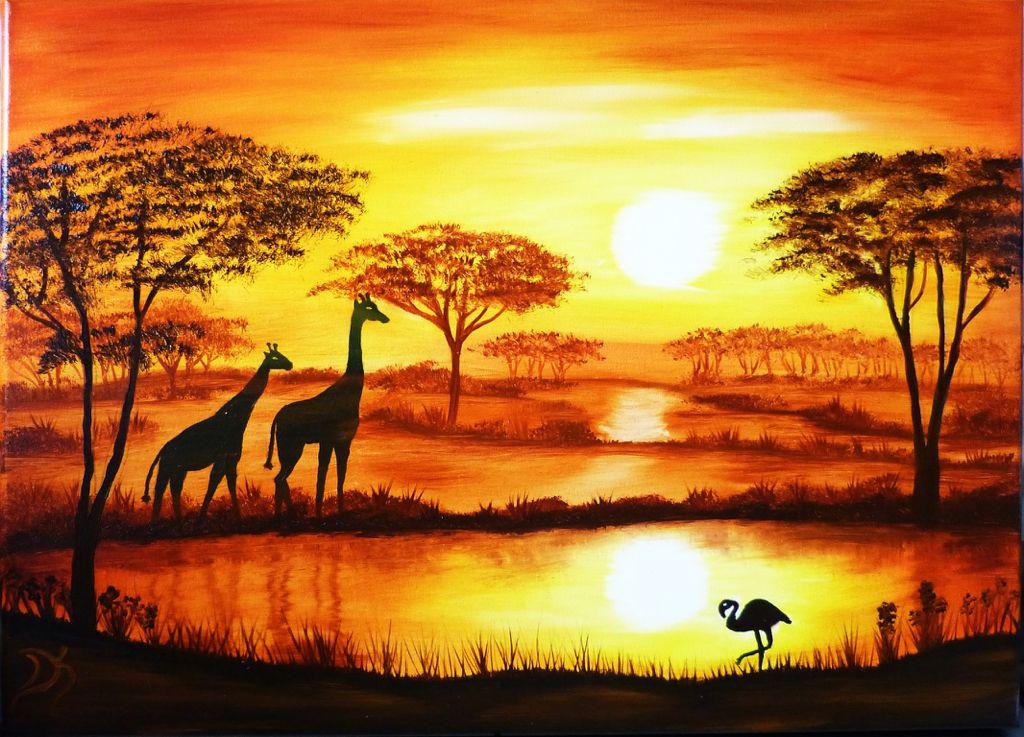 Afrika 2 Afrikanische Gemalde Malerei Landschaft Zeichnen