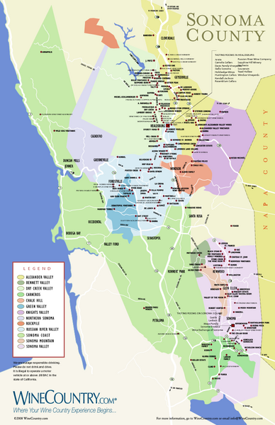 Map Sonoma Country Wine Map California Usa Created By