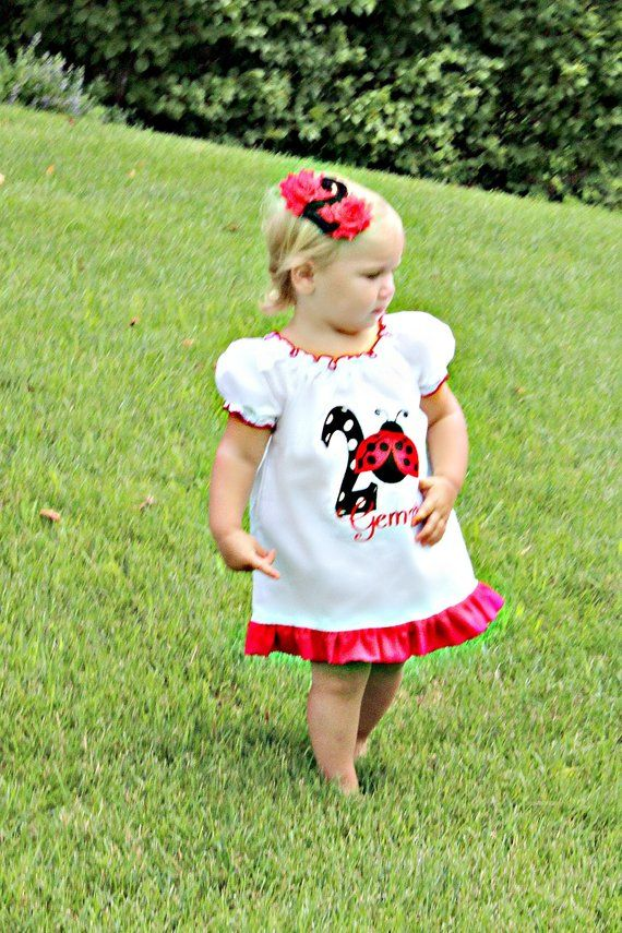 d08e8bb91efe 2nd Birthday Girl Outfit Girl Birthday 2 Year Old Birthday Outfit Ladybug Birthday  Second Birthday Girl Outfit Personalized Birthday Dress