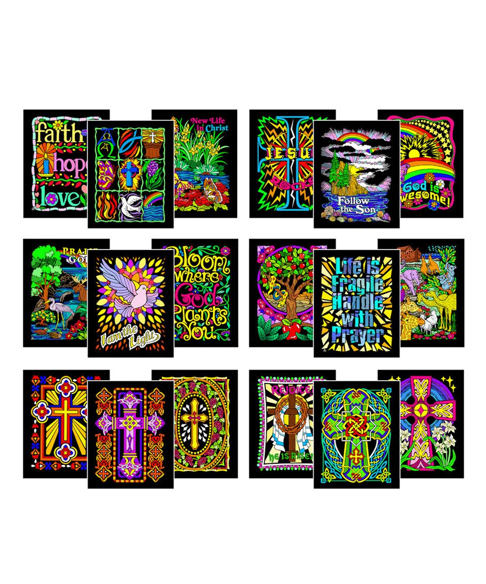 Christian Edition 18-Piece Velvet Coloring Poster Set by ...