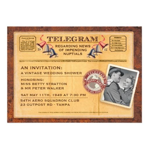 Cheap Wedding Ideas All About Party For Wedding Best: Vintage 1940s Wedding Shower Invitation Telegram With