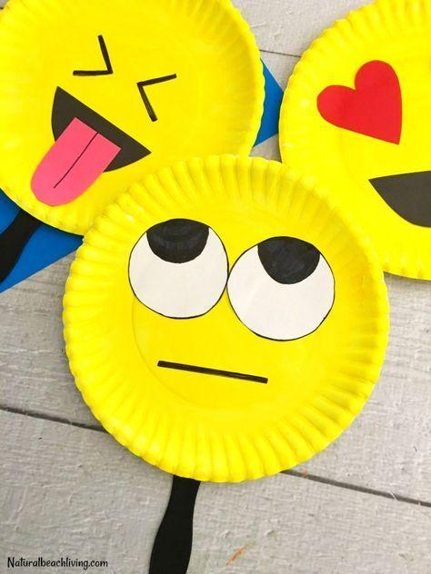 Super Cute Emoji Paper Plate Craft – Emotions Theme Party Prop – Natural Beach Living