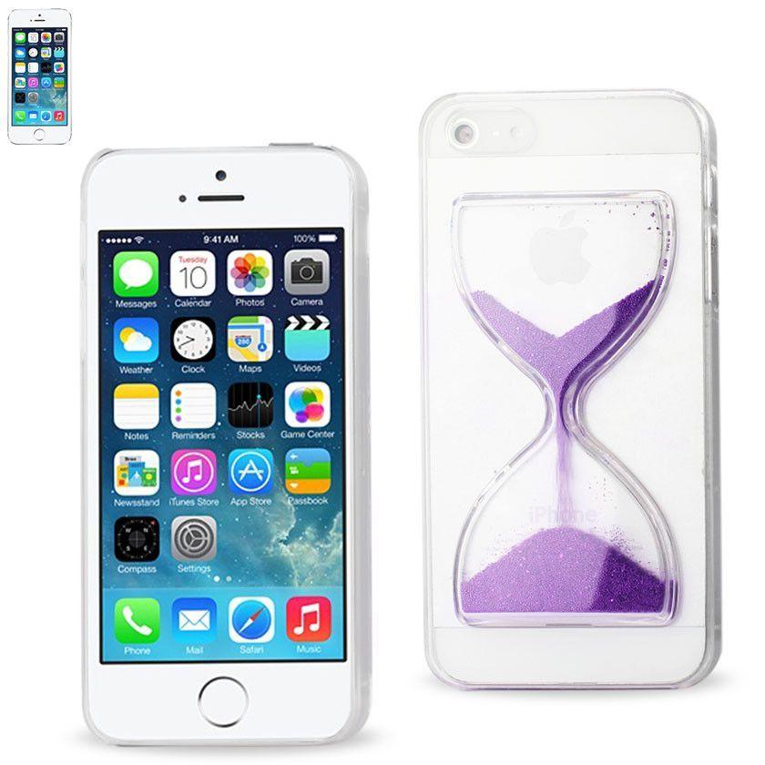 REIKO IPHONE SE/ 5S/ 5 3D SAND CLOCK CLEAR CASE IN PURPLE