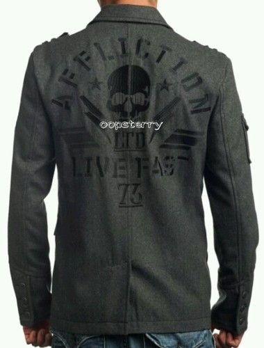 0726a3b5 Very Nice!! NWT AFFLICTION Black Premium Men Wool Blazer Jacket Coat ...