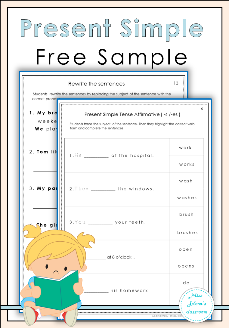 Free Sample Present Simple Worksheets includes one ...