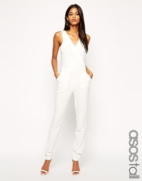 ead5b97fa955 ASOS TALL Exclusive Wrap Front Jumpsuit in black