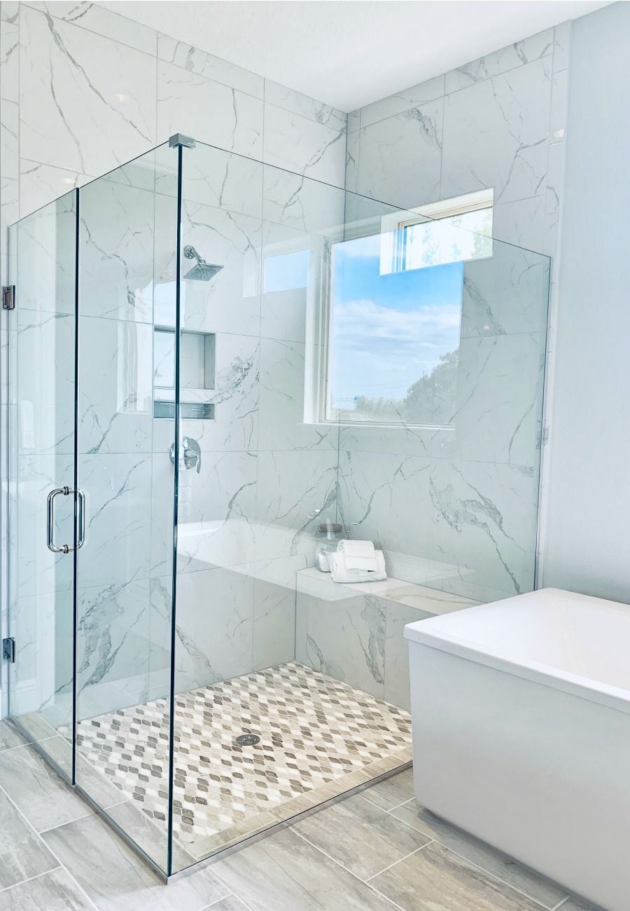 The Master bathroom is a key room that buyers focus on when looking to buy a home. Think about how you can have a clean bathtub with a custom shower to refresh the look of your bathroom.  #masterbath #staging #realestate