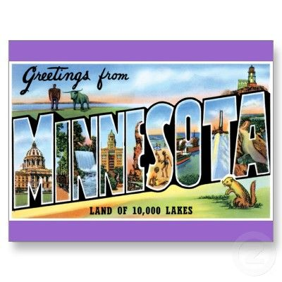 Vintage postcard  poster reproduction. Greetings from Minnesota
