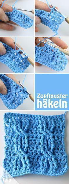 Zopfmuster häkeln - kostenlose Anleitung für Häkelzöpfe #crochetstitchespatterns