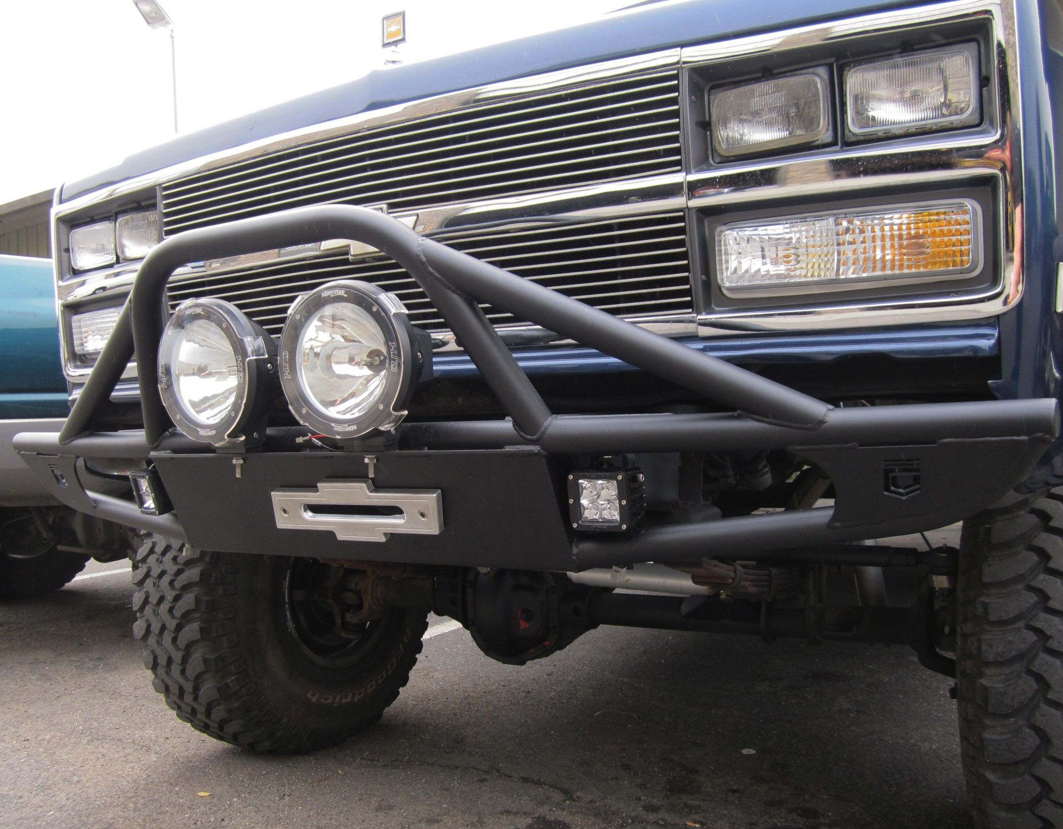 Chassis unlimited front tube winch bumper for your chevrolet or gmc blazer pick up truck suburban or crew cab truck all years models from bumper comes