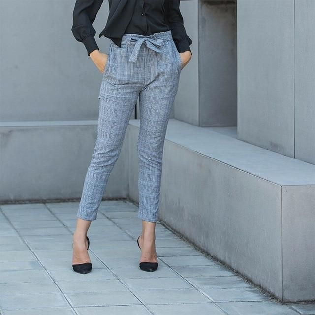 c96ee901e7d 2018 Women High Waist Pants Plaid Pattern Office Lady Work Trousers Ankle  Length Fashion Casual Pencil Pants Large Size Clothing