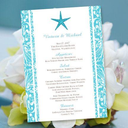 Printable Wedding Menu Template Beach Starfish By WeddingTemplates