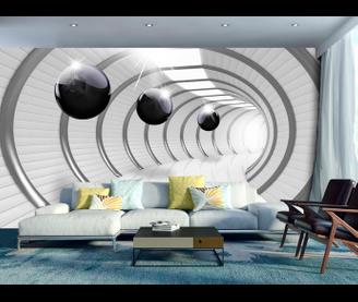 Papier peint Tunnel 3D noir et blanc | Home | Wall murals, 3d ...