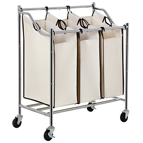 Songmics 3 Bag Rolling Laundry Sorter Cart Heavy Duty Sor Https