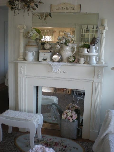62 Inspiring And Fresh Spring Mantels Digsdigs Shabby Chic Fireplace Cottage Decor Shabby Chic Homes