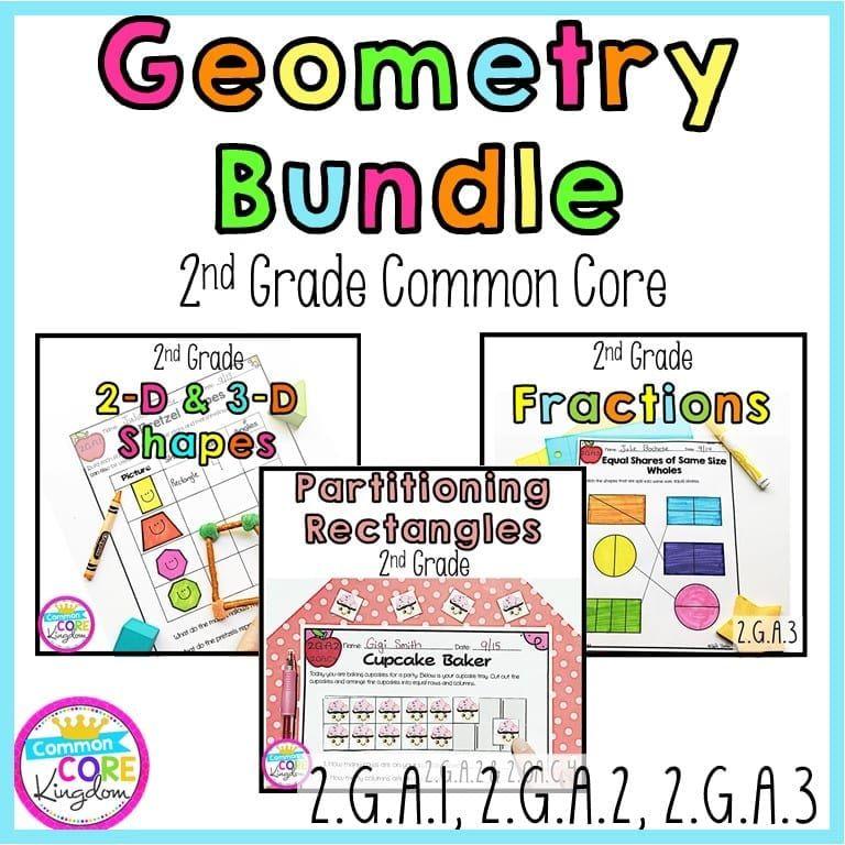 Geometry and Fractions Bundle 2nd Grade Google Slides