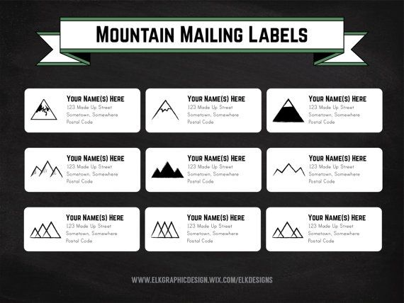 DIY Printable Mountain Mailing Labels, Address Labels, Editable - mailing address labels template