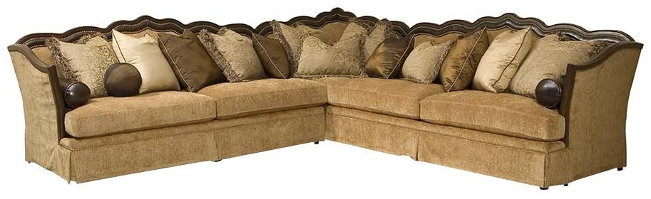 Lisa Traditional Styled Lisa Sectional Sofa With Exposed Wood Frame By Rachlin  Classics   Riverview Galleries   Sofa Sectional Furniture Store NC By ...