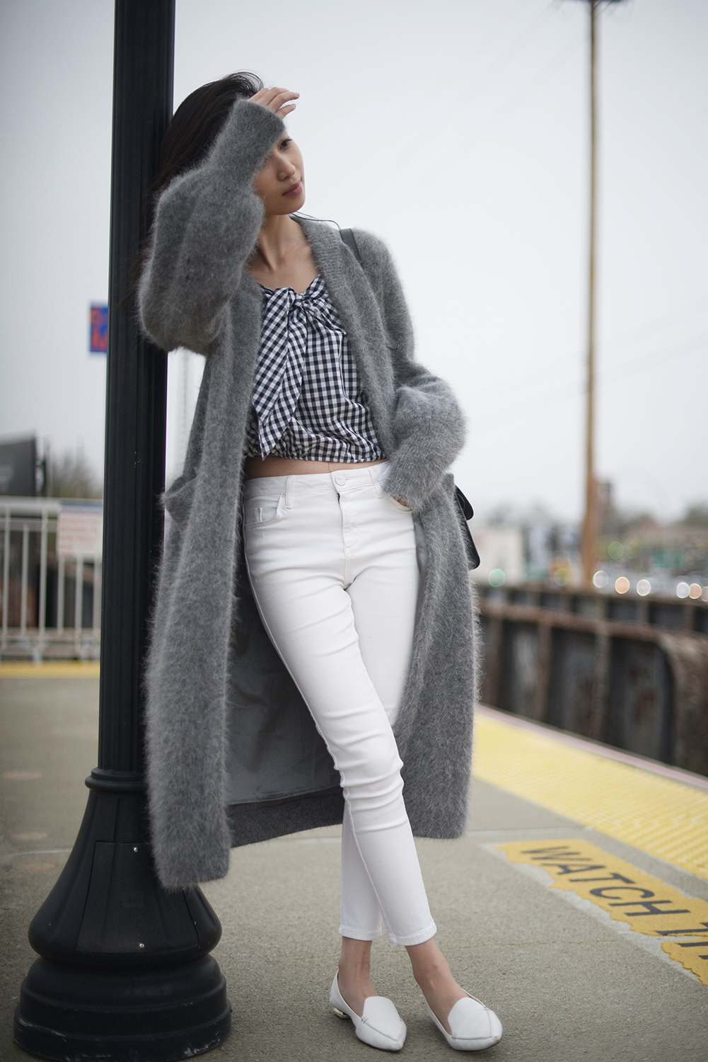 Grey Cardigan Coat with Gingham and White Pants - Off The Grid  63e8552da1a41