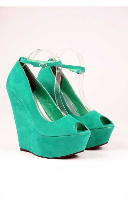 a4cef1fbcf02 Tania Ankle Strap Peep Toe Platform Wedge in Green Suede