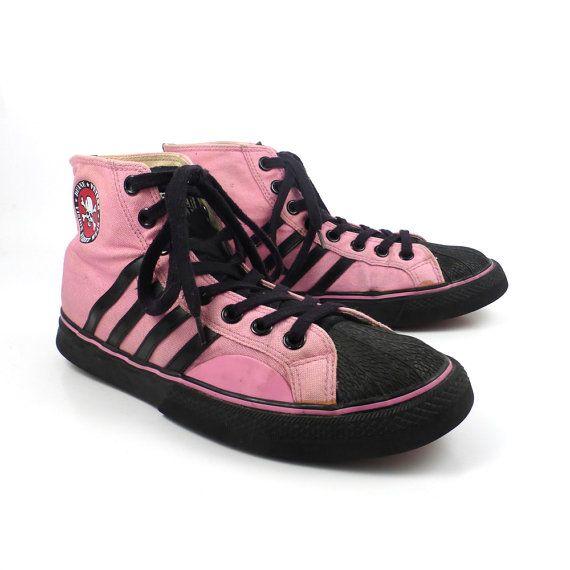 Vision Street Wear Sneakers Shoes Vintage 1990s Pink Hi tops Duane Peters  Men's size 9 . 5