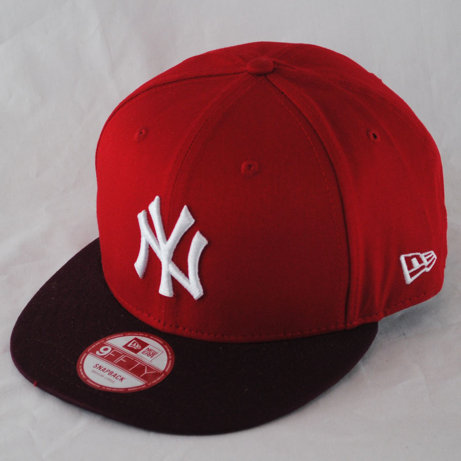 New Era 9fifty NY Yankees Mono Block Red Burgundy Snapback Hat Cap ... e96dee0bcc1