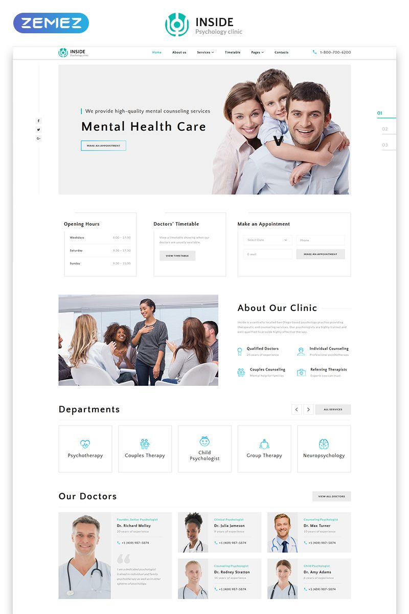 Inside Psychology Clinic Multipage Html5 Website Template Psychology Clinic Psychology Website Template