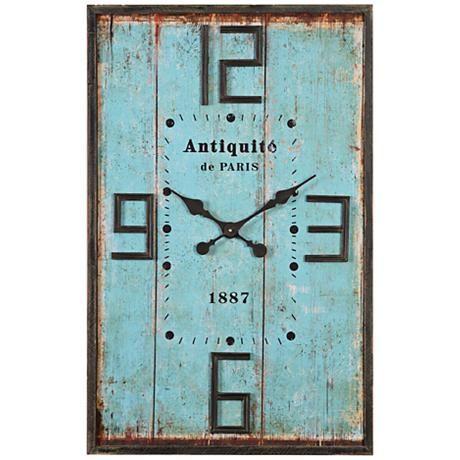 Antiquite De Paris Aged Blue 36 High Wood Wall Clock 7x042 Lamps Plus Distressed Wall Clock Blue Wall Clocks Wood Wall Clock