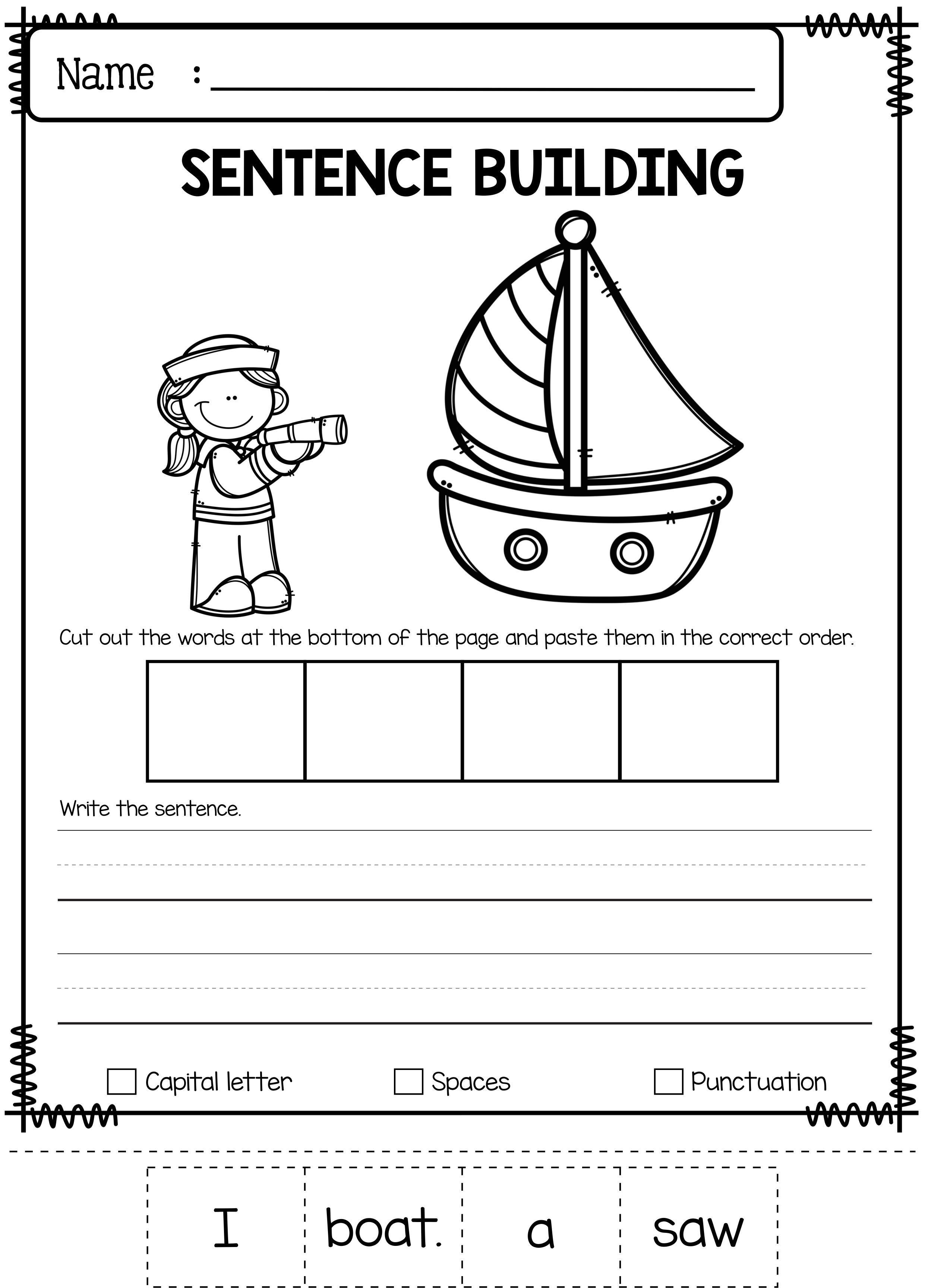 june sentence building education sentence building preschool worksheets kindergarten. Black Bedroom Furniture Sets. Home Design Ideas