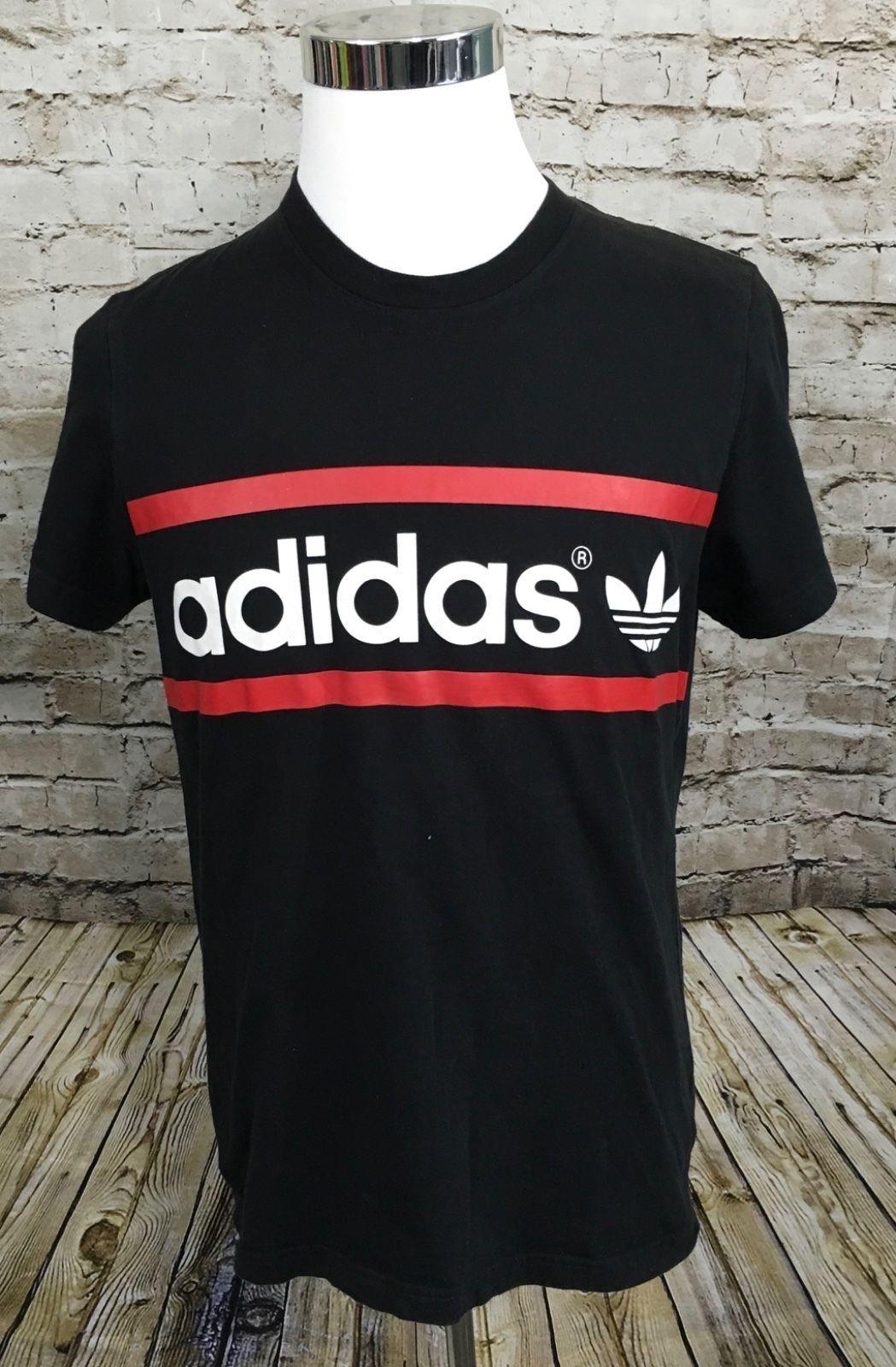 Mens ADIDAS TREFOIL Black Cotton Short Sleeve T Shirt Size L Large      G002
