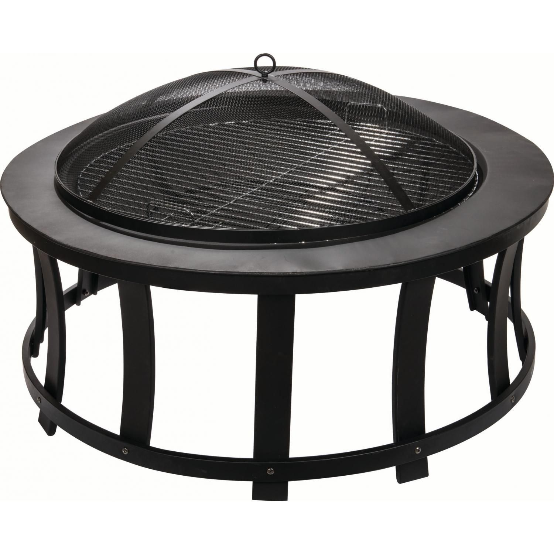 Alpine flame inch black wood burning fire pit with slat design