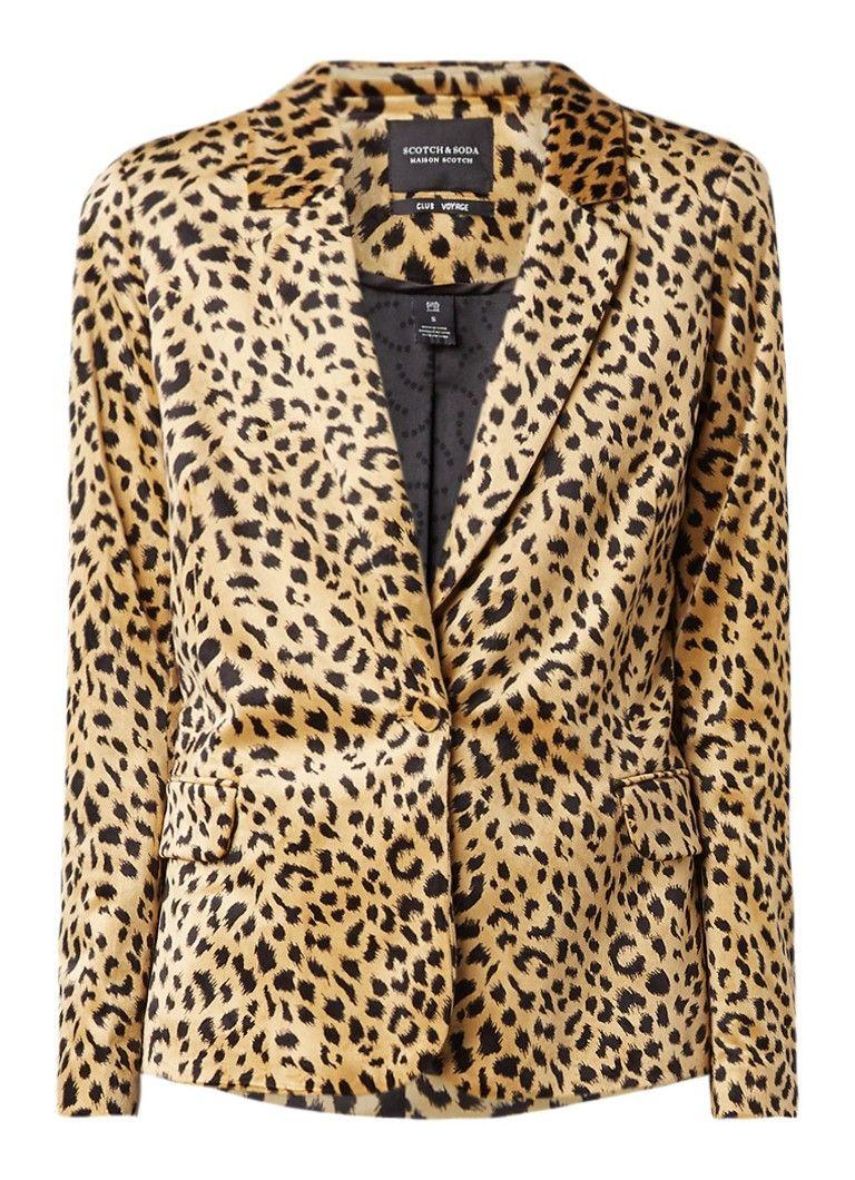 Scotchusoda blazer van velours met luipaarddessin scotch soda