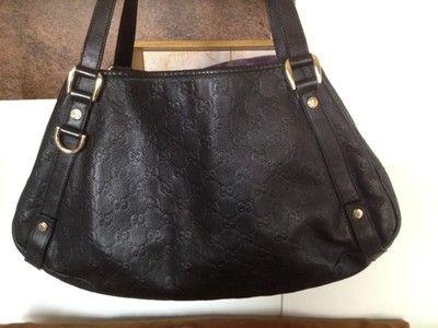 """Gucci Guccissima leather """"Abbey""""; black"""