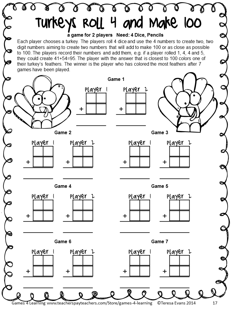 No Prep math game from Thanksgiving Math Games Third Grade